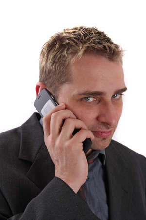 hait: Man with mobile phone  Stock Photo