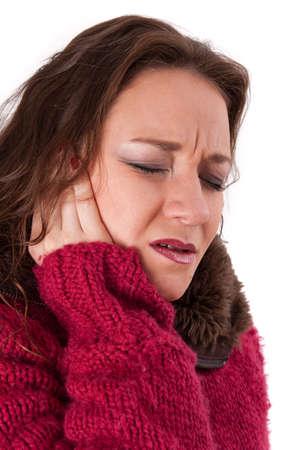 dolor de oido: Mujer con dolor Foto de archivo