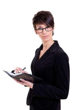 Business woman with calendar and phone Stock Photo - 17415049