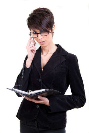 Business woman with calendar and phone Stock Photo - 17415051