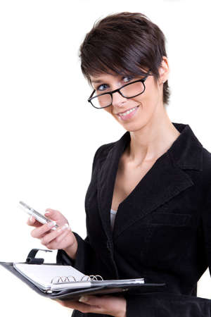 Smiling business woman with calendar and phone photo