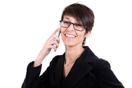 Smiling woman with glasses and smart phone photo
