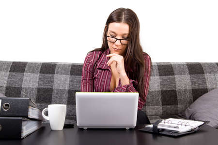 Woman working on her computer Stock Photo - 17415011