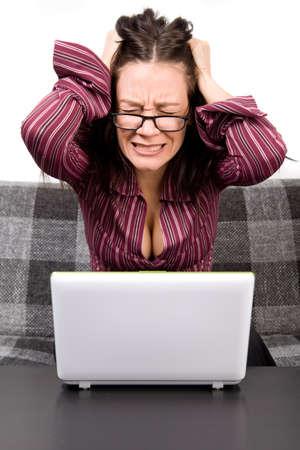 computer problems: Donna con problemi del computer Archivio Fotografico