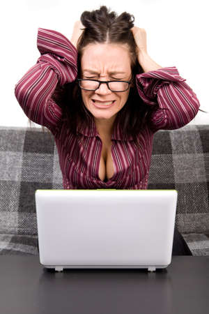 Woman with computer problems photo