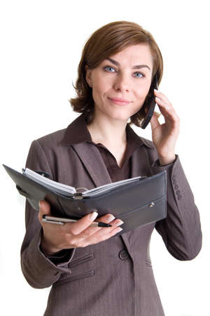 A business woman with calendar and mobile phone photo