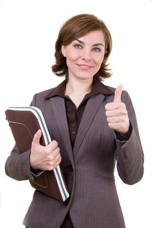 Business woman with notebook case and thumb up Stock Photo