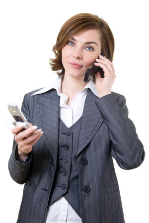Business woman with two mobile phones  photo