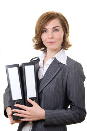 A business woman with folders