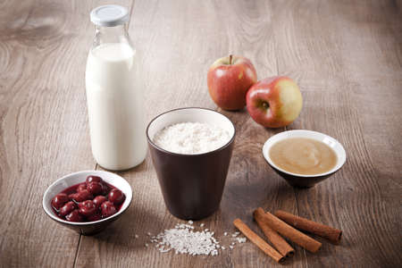 Ingredients for milk rice pudding Stock Photo