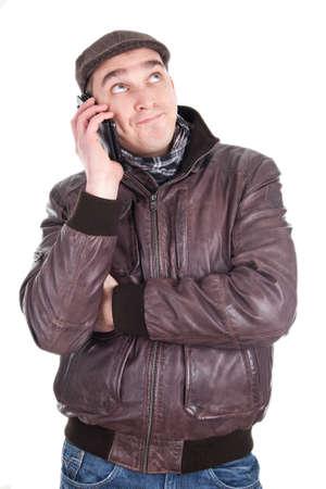 dullness: Man has a boring phone call