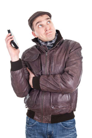 Man has a boring phone call