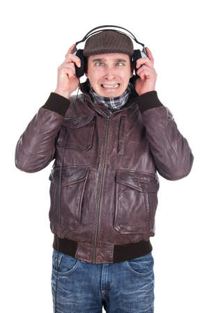 Man listening to loud music Stock Photo - 18359377