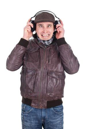 Man listening to loud music Stock Photo - 18359377