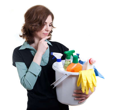 Cleaning woman thinking Stock Photo