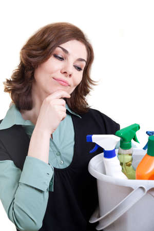 Thinking cleaning woman  Stock Photo - 18359399