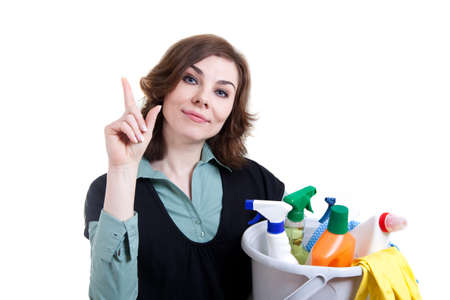 Cleaning woman with finger up Stock Photo