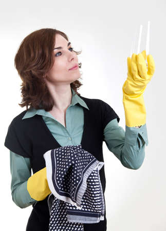 Woman with clean glas
