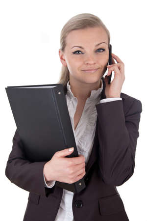 file clerks: Smart business woman with phone and folder
