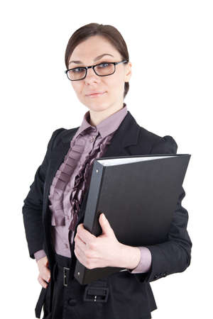 Business Woman with glasses and folder photo
