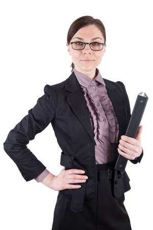 disposer: Business woman with black folder Stock Photo