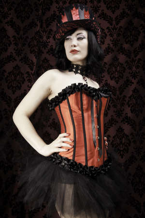 fetish wear: Woman in burlesque clthing