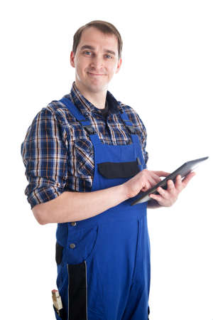 Smiling Craftsman with digital tablet pc photo
