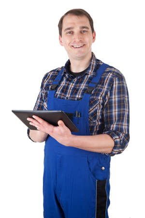 Smiling Craftsman with digital tablet pc Stock Photo