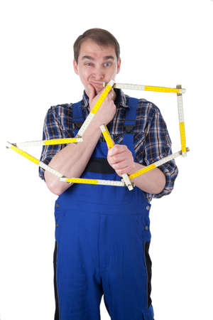 Craftsman with yardstick Stock Photo