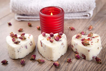 flavoured: Three rose flavoured soap pralines Stock Photo