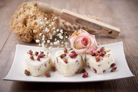 Three bath pralines with rose flavour