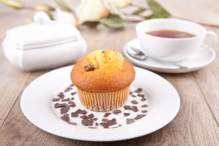 Muffin and a cup of tea Stock Photo