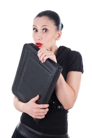 Upset woman with leather briefcase
