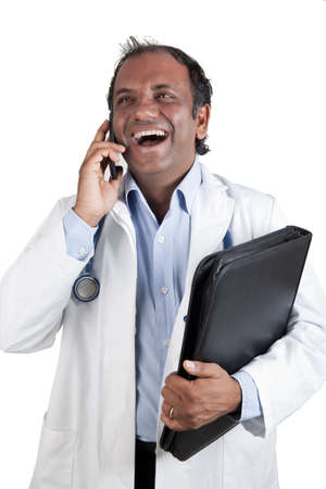 Indian doctor with phone and folder photo