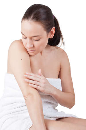 melanoma: Woman looking for a melanoma Stock Photo