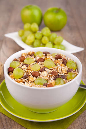 Cereal with fresh grapes photo