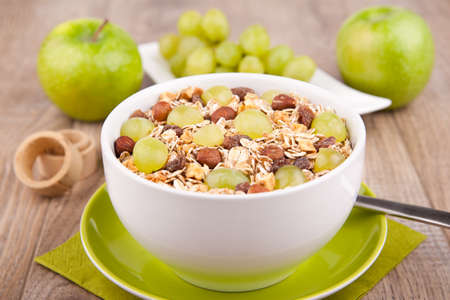 Muesli with fresh grapes photo