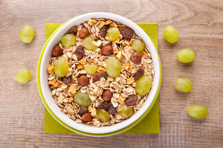 Muesli with fresh grapes from above photo