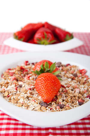 Cereal with fresh strawberries photo