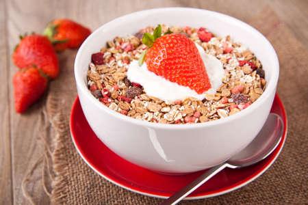 Muesli with fresh strawberries photo