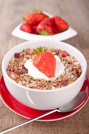 Muesli with fresh strawberries photo