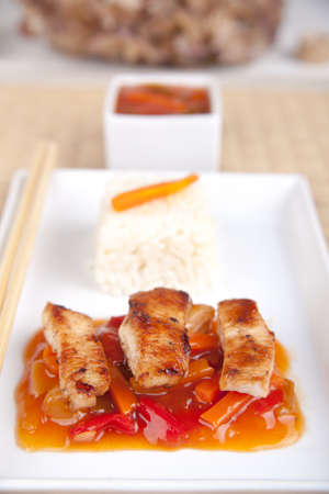 Chinese sweet sour meat with white rice Stock Photo