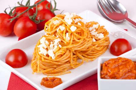 Pasta with red pesto