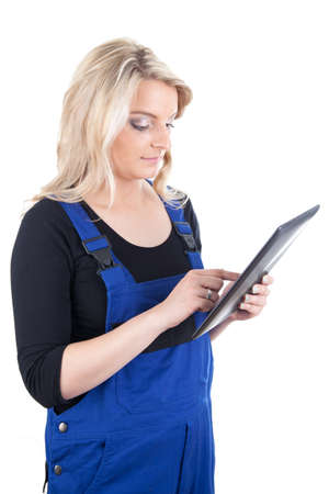 craftswoman: Craftswoman with tablet pc