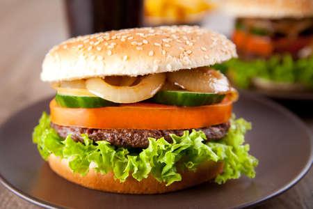 Fresh hamburger macro Stock Photo