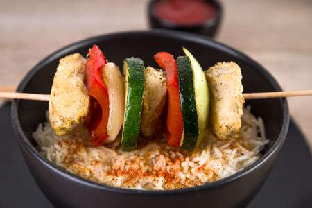shashlik: Shashlik with saffron rice
