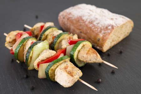 shashlik: Shashlik with fresh bread