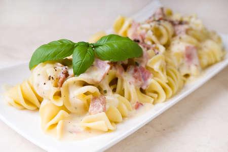 Pasta carbonara Stock Photo