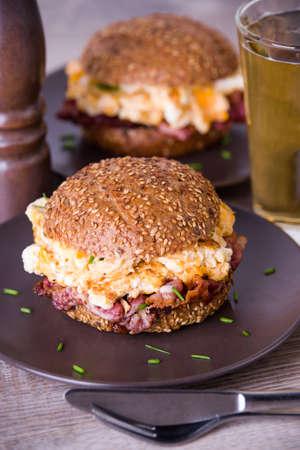 Bacon egg burger Stock Photo