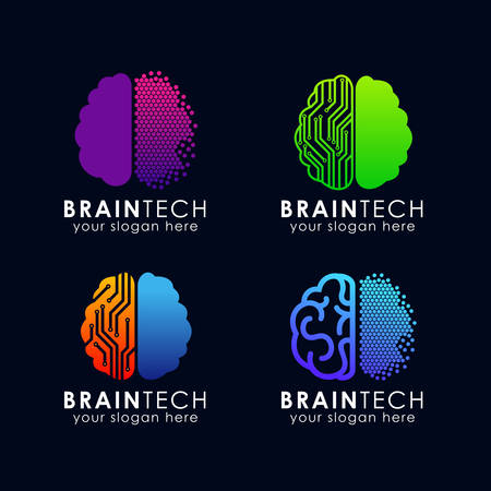digital brain logo design. brain tech logo template vector icon  イラスト・ベクター素材